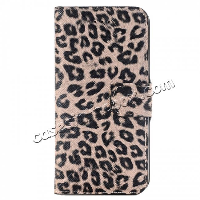 wholesale Leopard Pattern Magnetic Pu Leather Wallet Stand Case for iPhone 7 4.7 inch - Brown
