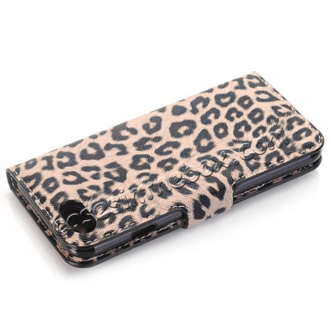 cheap Leopard Pattern Magnetic Pu Leather Wallet Stand Case for iPhone 7 4.7 inch - Brown