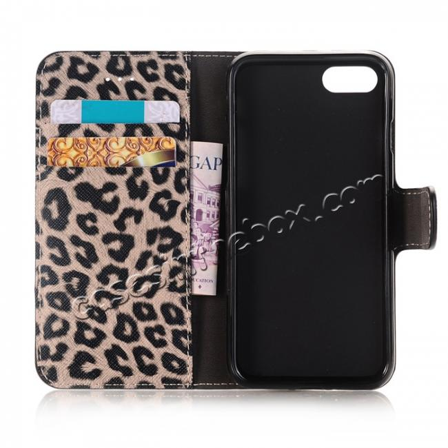 on sale Leopard Pattern Magnetic Pu Leather Wallet Stand Case for iPhone 7 4.7 inch - Brown