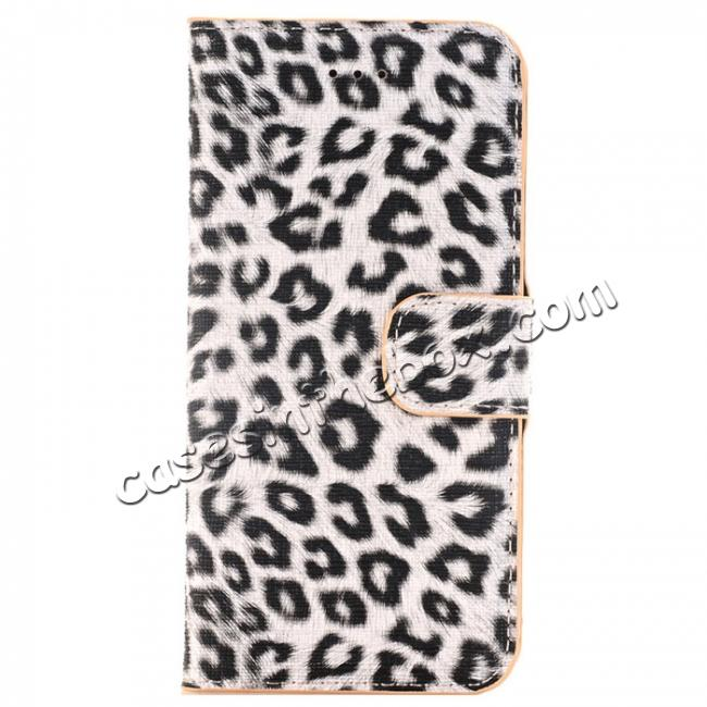 wholesale Leopard Pattern Magnetic Pu Leather Wallet Stand Case for iPhone 7 4.7 inch - Yellow