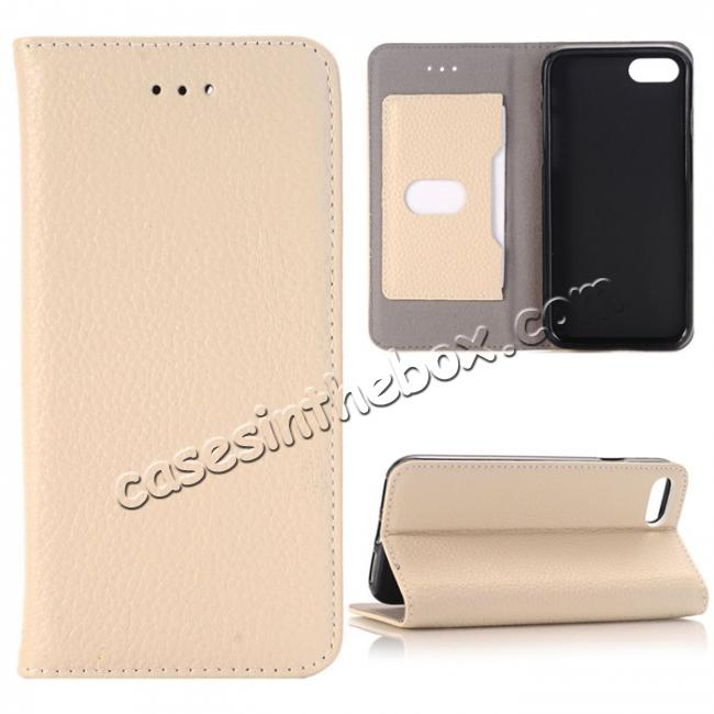 wholesale Lichee Pattern Card Slot Flip Stand TPU+Genuine Leather Case for iPhone 7 4.7 inch - Beige