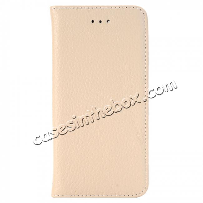 discount Lichee Pattern Card Slot Flip Stand TPU+Genuine Leather Case for iPhone 7 4.7 inch - Beige