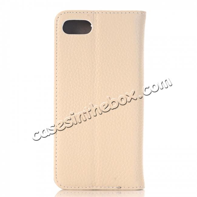 cheap Lichee Pattern Card Slot Flip Stand TPU+Genuine Leather Case for iPhone 7 4.7 inch - Beige