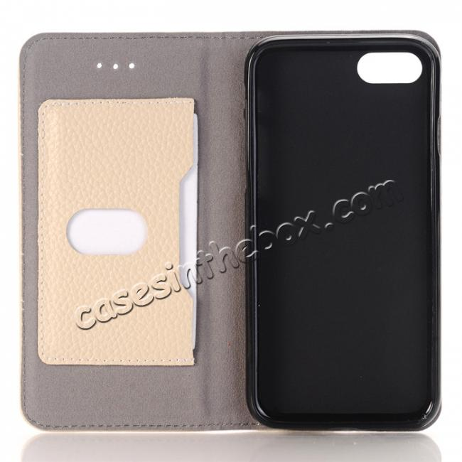 low price Lichee Pattern Card Slot Flip Stand TPU+Genuine Leather Case for iPhone 7 4.7 inch - Beige