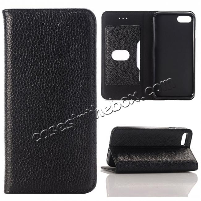 wholesale Lichee Pattern Card Slot Flip Stand TPU+Genuine Leather Case for iPhone 7 4.7 inch - Black