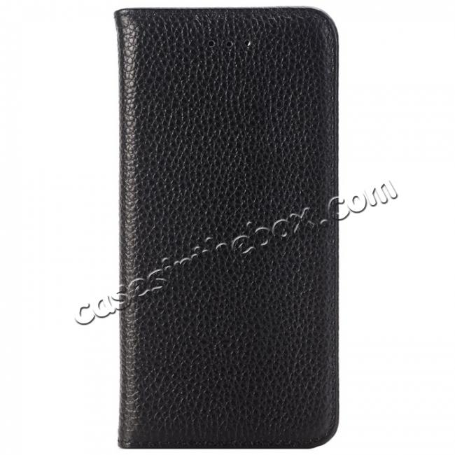 discount Lichee Pattern Card Slot Flip Stand TPU+Genuine Leather Case for iPhone 7 4.7 inch - Black