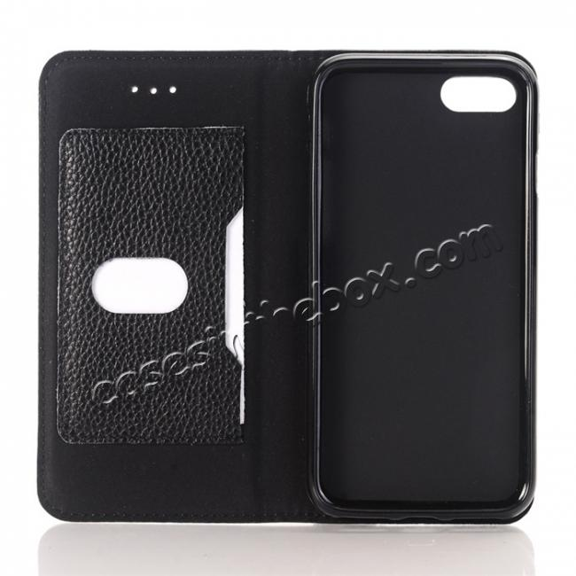 low price Lichee Pattern Card Slot Flip Stand TPU+Genuine Leather Case for iPhone 7 4.7 inch - Black