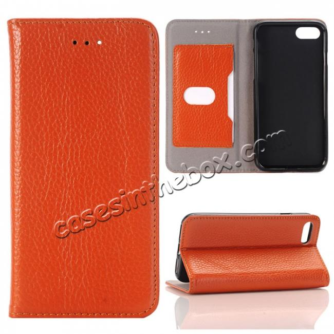 wholesale Lichee Pattern Card Slot Flip Stand TPU+Genuine Leather Case for iPhone 7 4.7 inch - Brown
