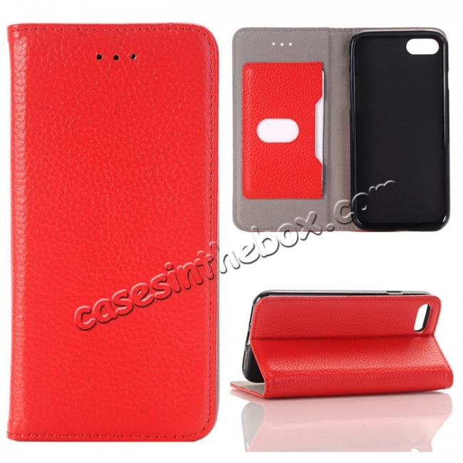 wholesale Lichee Pattern Card Slot Flip Stand TPU+Genuine Leather Case for iPhone 7 4.7 inch - Red