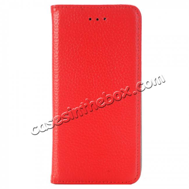 discount Lichee Pattern Card Slot Flip Stand TPU+Genuine Leather Case for iPhone 7 4.7 inch - Red