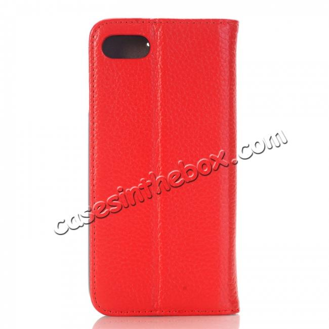 cheap Lichee Pattern Card Slot Flip Stand TPU+Genuine Leather Case for iPhone 7 4.7 inch - Red