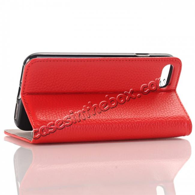 best price Lichee Pattern Card Slot Flip Stand TPU+Genuine Leather Case for iPhone 7 4.7 inch - Red