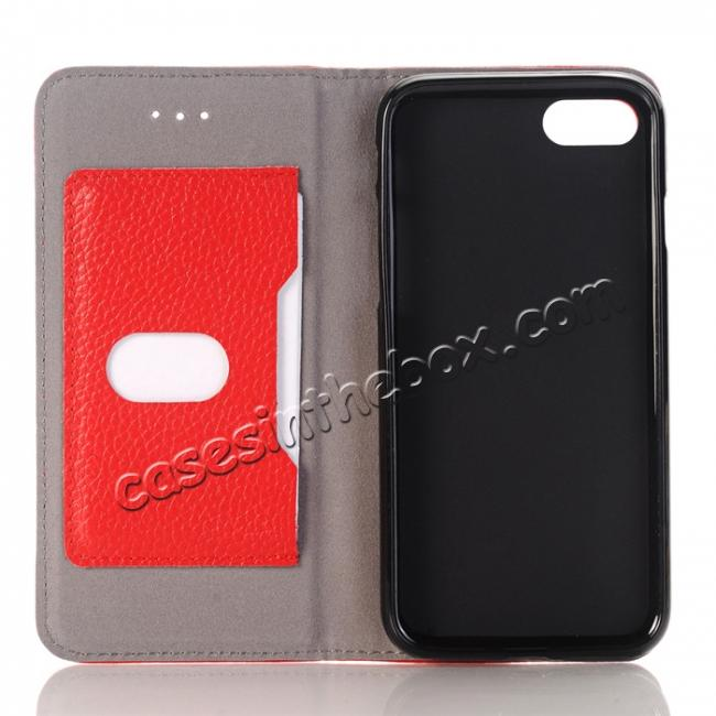 low price Lichee Pattern Card Slot Flip Stand TPU+Genuine Leather Case for iPhone 7 4.7 inch - Red