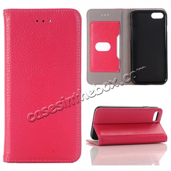 wholesale Lichee Pattern Card Slot Flip Stand TPU+Genuine Leather Case for iPhone 7 4.7 inch - Rose