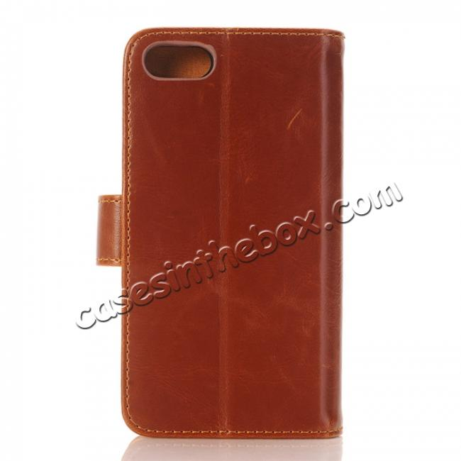discount Luxury Crazy Horse Pattern Card Slot Wallet Leather Case for iPhone 7 4.7 inch - Brown