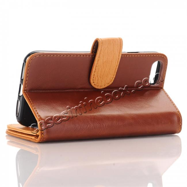 top quality Luxury Crazy Horse Pattern Card Slot Wallet Leather Case for iPhone 7 4.7 inch - Brown