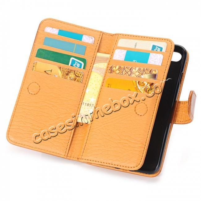 low price Luxury Crazy Horse Pattern Card Slot Wallet Leather Case for iPhone 7 4.7 inch - Brown