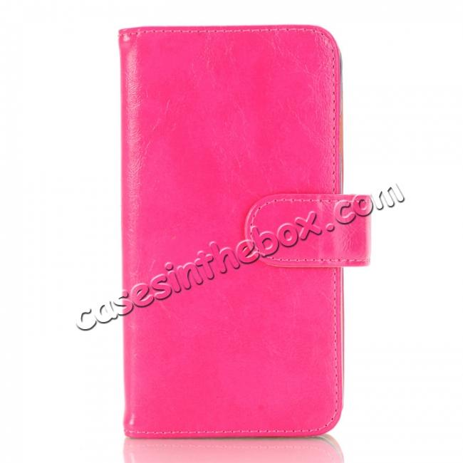 wholesale Luxury Crazy Horse Pattern Card Slot Wallet Leather Case for iPhone 7 4.7 inch - Rose Red