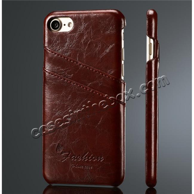 wholesale Oil Wax Style Insert Card Leather Back Case Cover for iPhone 7 4.7 inch - Wine Red