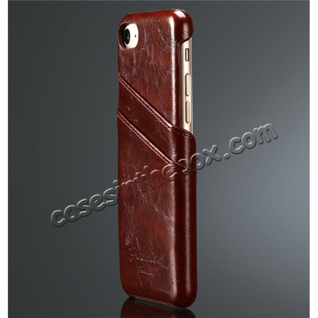 discount Oil Wax Style Insert Card Leather Back Case Cover for iPhone 7 4.7 inch - Wine Red
