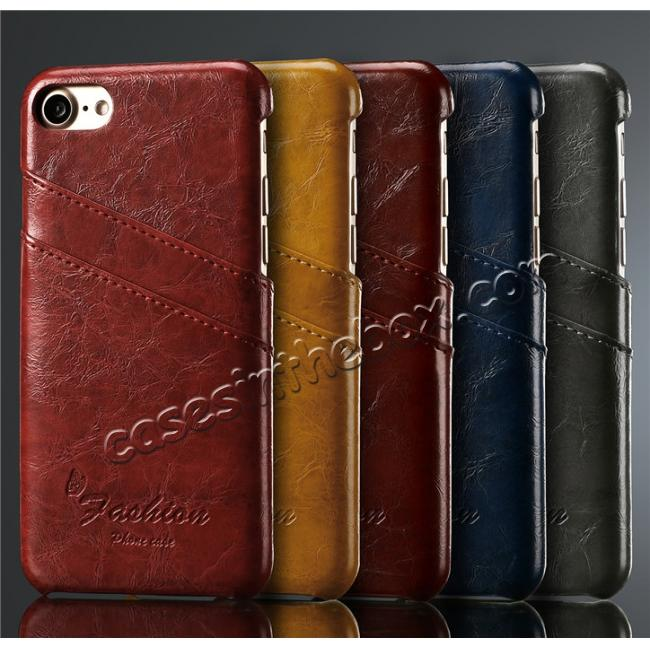 top quality Oil Wax Style Insert Card Leather Back Case Cover for iPhone 7 4.7 inch - Wine Red