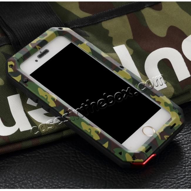wholesale R-JUST Metal Aluminum Gorilla Glass Shockproof Case For iPhone 6S Plus / 6 Plus 5.5inch - Camouflage
