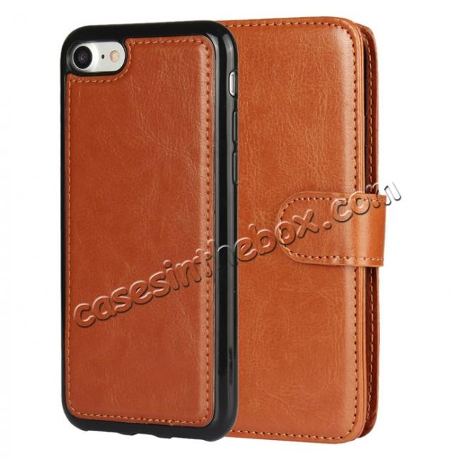 discount 2in1 Magnetic Removable Detachable Leather Wallet Cover Case For iPhone 7 Plus 5.5 inch - Brown