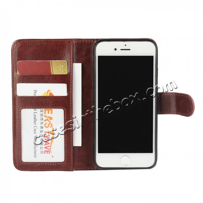 best price 2in1 Magnetic Removable Detachable Leather Wallet Cover Case For iPhone 7 Plus 5.5 inch - Dark Brown