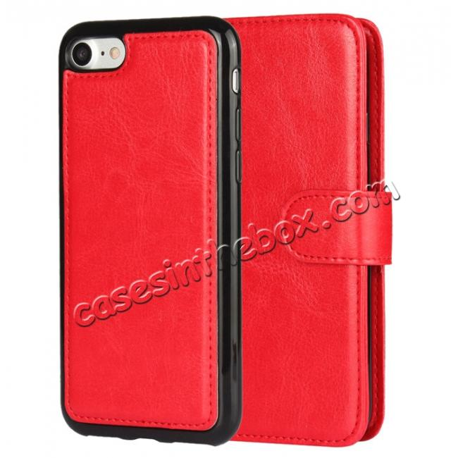 discount 2in1 Magnetic Removable Detachable Leather Wallet Cover Case For iPhone 7 Plus 5.5 inch - Red