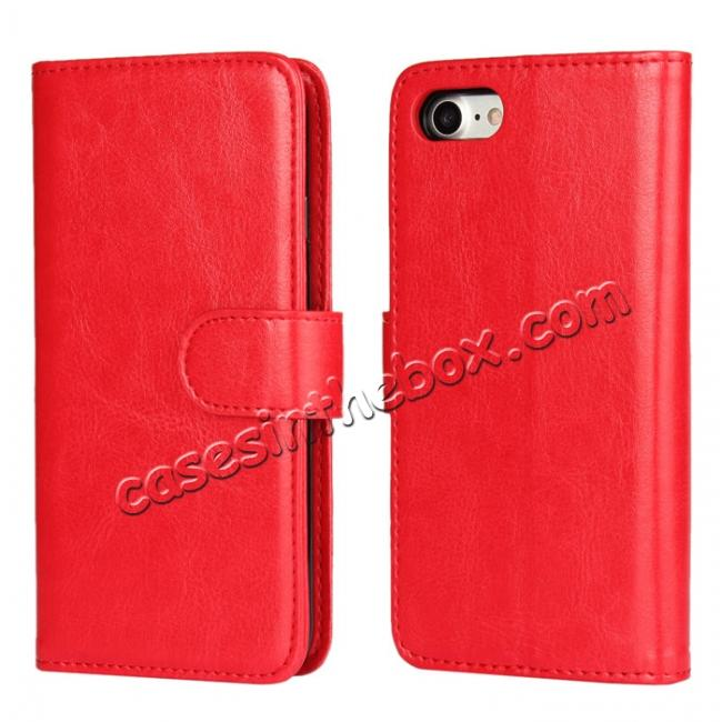 wholesale 2in1 Magnetic Removable Detachable Leather Wallet Cover Case For iPhone 7 Plus 5.5 inch - Red