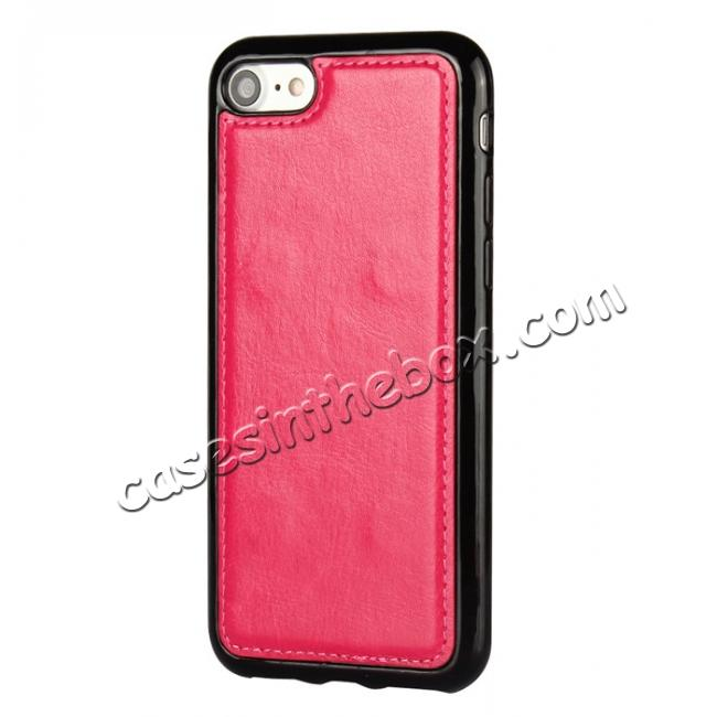 best price 2in1 Magnetic Removable Detachable Leather Wallet Cover Case For iPhone 7 Plus 5.5 inch - Rose