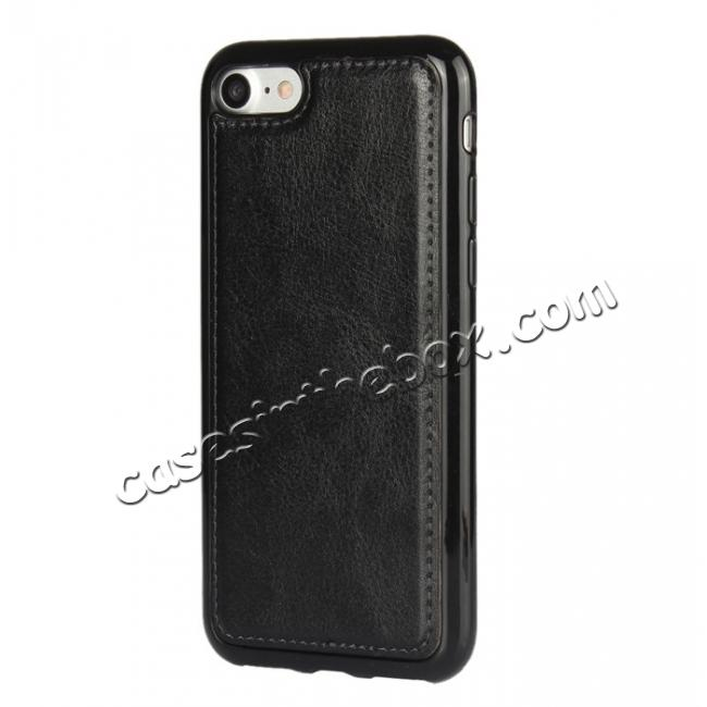 top quality 2in1 Magnetic Removable Detachable Wallet Cover Case For iPhone 7 4.7 inch - Black