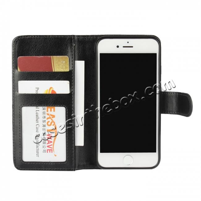 low price 2in1 Magnetic Removable Detachable Wallet Cover Case For iPhone 7 4.7 inch - Black