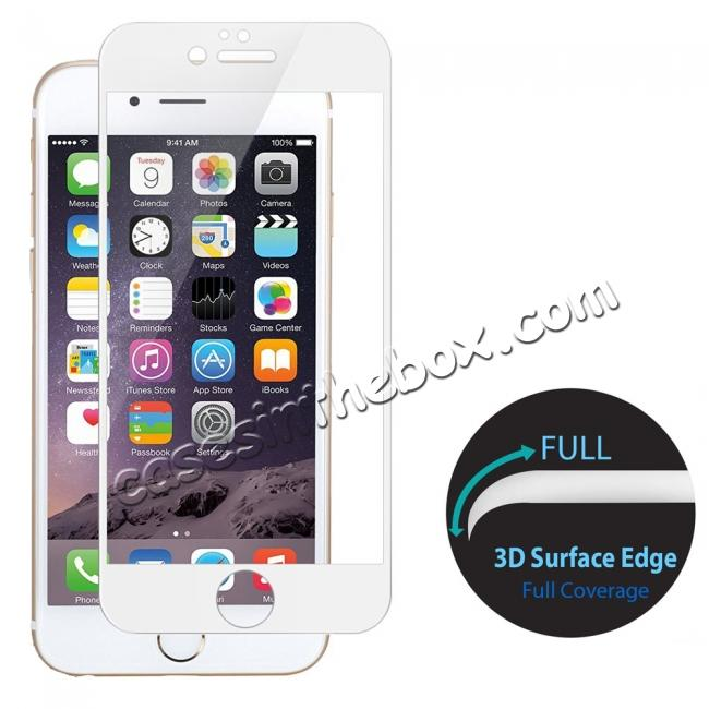 wholesale 3D Curved Full Coverage Tempered Glass Screen Protector for iPhone 7 4.7inch - White