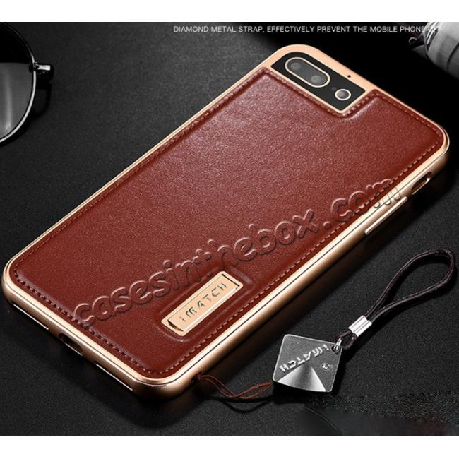 cheap Aluminum Metal Bumper Frame+Genuine Leather Case Stand Cover For iPhone 7 4.7 inch - Gold&Brown