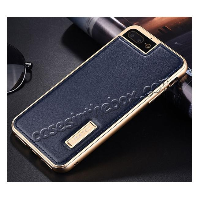 discount Aluminum Metal Bumper Frame+Genuine Leather Case Stand Cover For iPhone 7 4.7 inch - Gold&Dark Blue