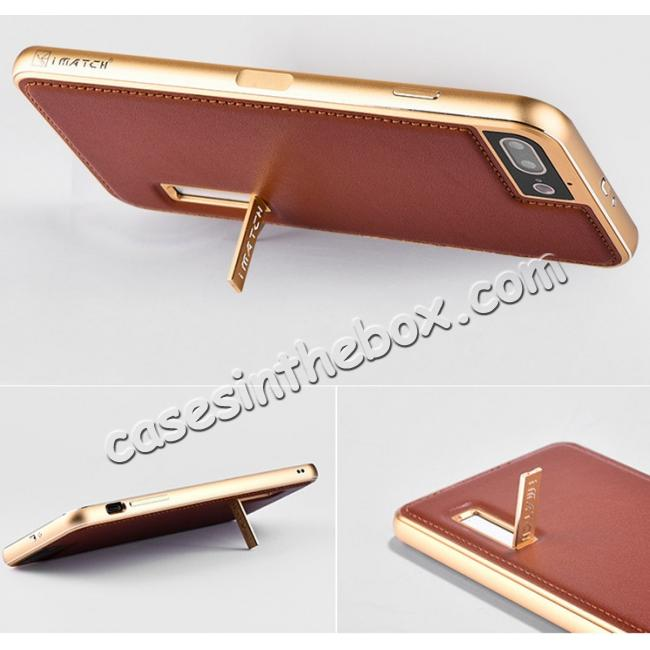 top quality Aluminum Metal Bumper Frame+Genuine Leather Case Stand Cover For iPhone 7 4.7 inch - Gold&Wine Red