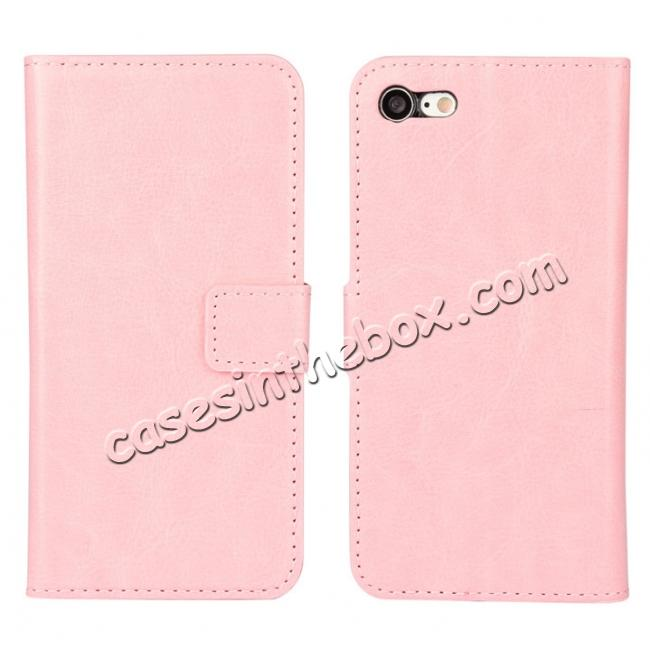 wholesale Crazy Horse Magnetic PU Leather Flip Case Inner TPU Cover for iPhone 7 Plus 5.5 inch - Pink