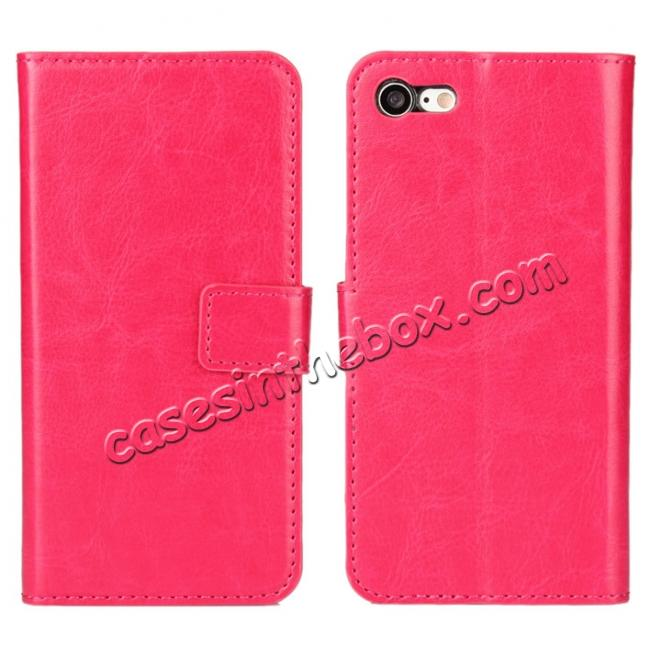 wholesale Crazy Horse Magnetic PU Leather Flip Case Inner TPU Cover for iPhone 7 Plus 5.5 inch - Rose