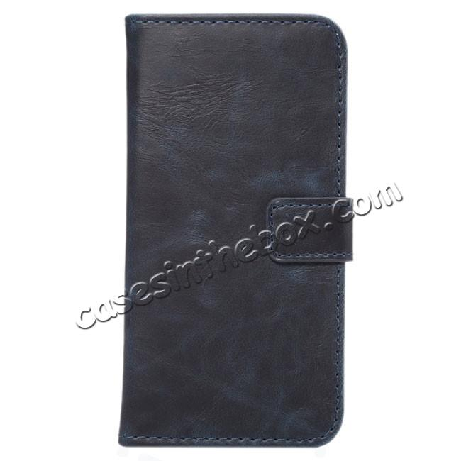 wholesale Crazy Horse Pattern Wallet Flip Stand PC+PU Leather Case Cover For iPhone 7 4.7 inch - Dark Blue