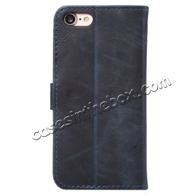 discount Crazy Horse Pattern Wallet Flip Stand PC+PU Leather Case Cover For iPhone 7 4.7 inch - Dark Blue