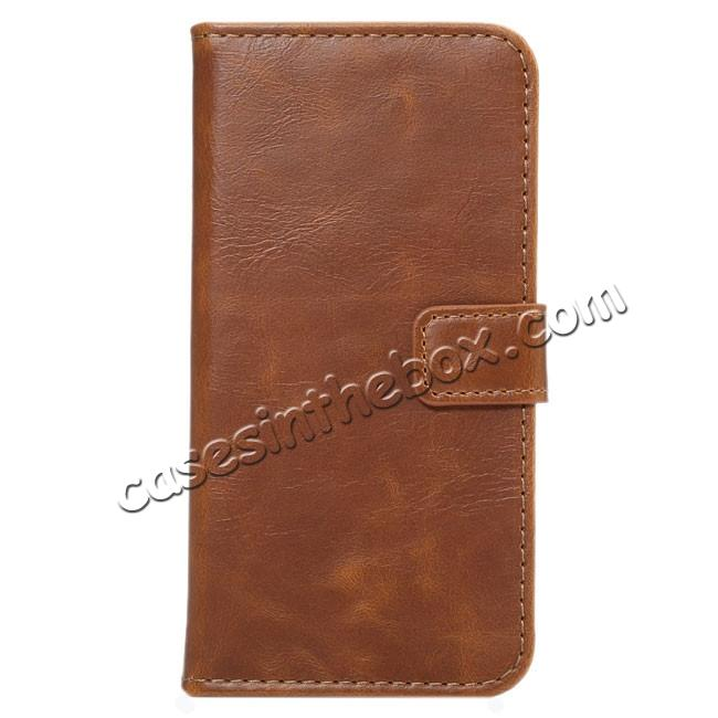 wholesale Crazy Horse Pattern Wallet Flip Stand PC+PU Leather Case Cover For iPhone 7 4.7 inch - Light Brown