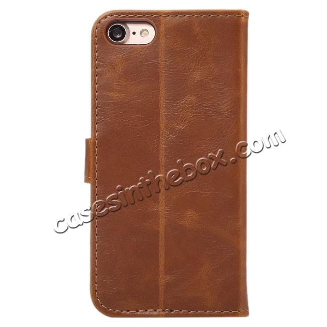 discount Crazy Horse Pattern Wallet Flip Stand PC+PU Leather Case Cover For iPhone 7 4.7 inch - Light Brown