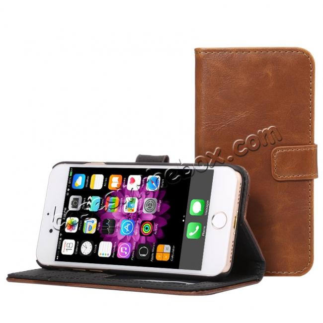 top quality Crazy Horse Pattern Wallet Flip Stand PC+PU Leather Case Cover For iPhone 7 4.7 inch - Light Brown