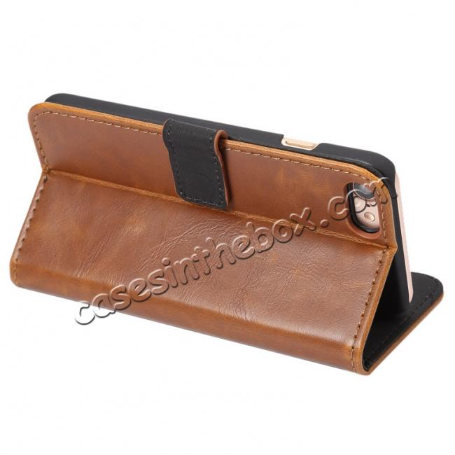 best price Crazy Horse Pattern Wallet Flip Stand PC+PU Leather Case Cover For iPhone 7 4.7 inch - Light Brown