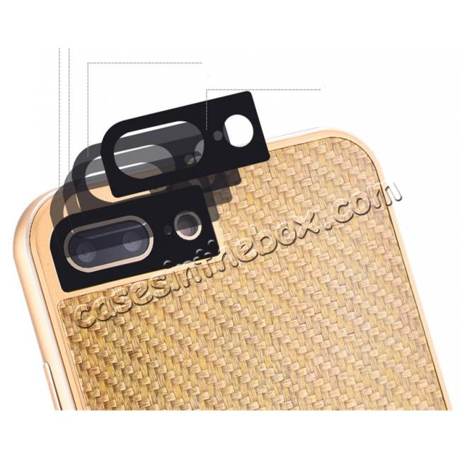 on sale Deluxe Metal Aluminum Frame Carbon Fiber Back Case Cover For iPhone 7 4.7 inch - Gold&Black