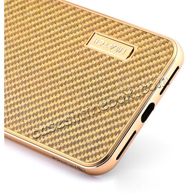 cheap Deluxe Metal Aluminum Frame Carbon Fiber Back Case Cover For iPhone 7 4.7 inch - Gold