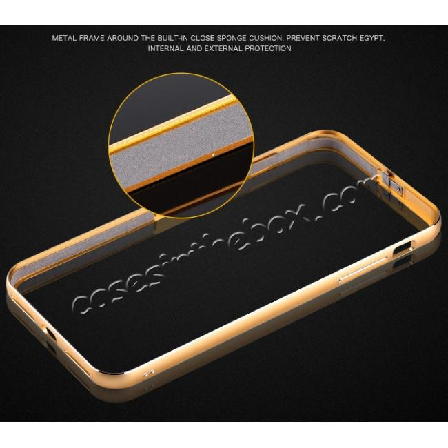 on sale Genuine Leather Back+Aluminum Metal Bumper Case Cover For iPhone 7 Plus 5.5 inch - Gold&Dark Blue