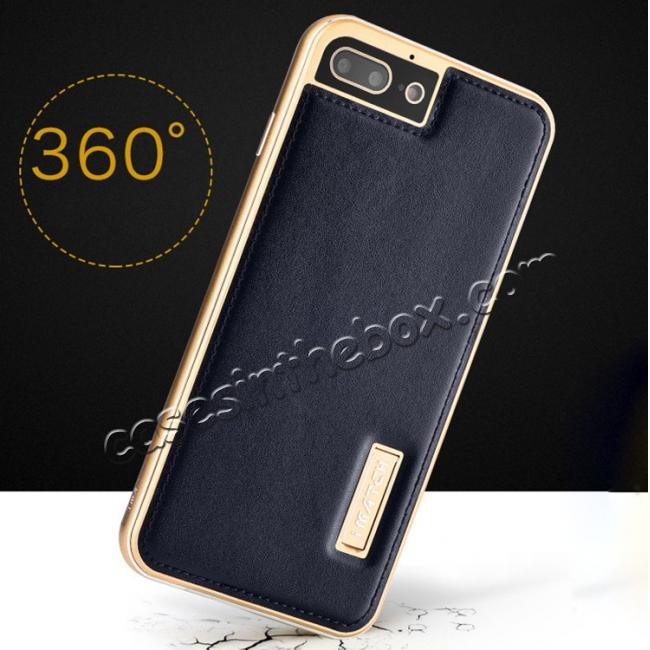 cheap Genuine Leather Back+Aluminum Metal Bumper Case Cover For iPhone 7 Plus 5.5 inch - Gold&Dark Blue