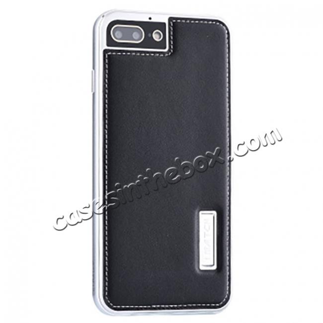wholesale Genuine Leather Back+Aluminum Metal Bumper Case Cover For iPhone 7 Plus 5.5 inch - Silver&Black